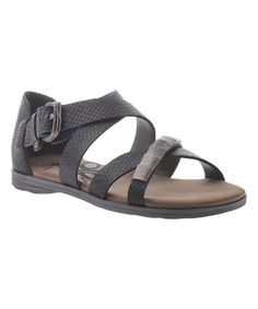 Look what I found on #zulily! Black Snake Print Pender Leather Sandal by OTBT #zulilyfinds