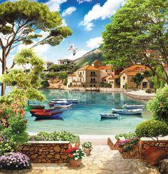 Backgrounds - Terraces and seascape, 35 JPEG, px, 300 dpi - REzepteInfinity Peaceful Places, Beautiful Places, Beautiful Pictures, Great Backgrounds, Photo Backgrounds, Beautiful Paintings, Beautiful Landscapes, Landscape Art, Landscape Paintings