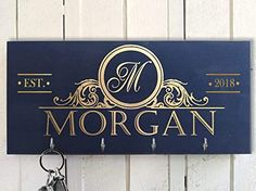Personalized Black-Gold Key Holder for wall, Monogram key holder, Charcoal Key Holder, Key Hanger, Family name Last N... Wall Mounted Key Holder, Wall Key Holder, New Home Gifts, Gifts For Family, High Gloss Paint, Paint Types, Handmade Signs, Newlywed Gifts, Personalized Christmas Gifts