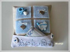 Taufe kleines Kissen Geldgeschenk, blau von Wollfi auf DaWanda.com