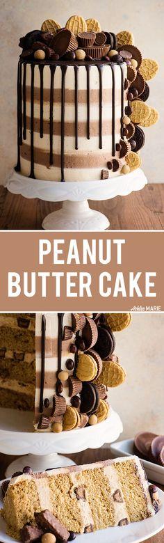 Triple Peanut Butter Cake Recipe Video | Posted By: DebbieNet.com