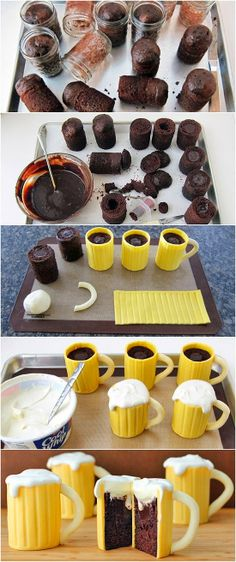Chocolate Beer Mug Cakes - fun cupcake tutorial for a mans party.  Sorry, no link. Just this picture tutorial.