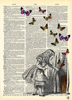 Behind the Curtain Vintage Alice in Wonderland Print on an Unframed Up-cycled Book page - AVANTPRINT