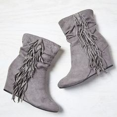 American Eagle Fringed Wedge Bootie