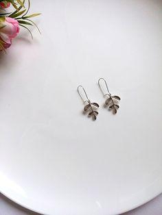 Silver Leave Earrings Silver Leaf Earrings Nature Jewelry
