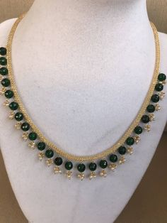 Thick cz stones mesh chain with pearls and green stones Gold Bangles Design, Gold Jewellery Design, Gold Jewelry Simple, Simple Necklace, Antique Jewellery Designs, Bracelets For Men, Jewelry Bracelets, Green Stone, Cz Stones