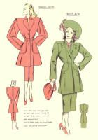1940's Fashion Designs - Free Sewing Pattern Cutting Drafts 2 : With Pictures and Drafts below them. From www.fashion-era.com. Below the bottom of box has a link to Late 1940s Free Sewing Pattern Drafts Here