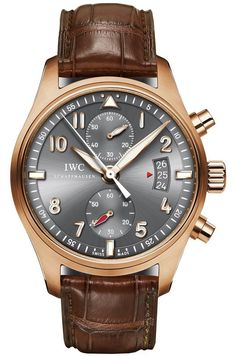 IWC Pilot Spitfire Grey Dial 18kt Rose Gold Brown Leather Mens Watch IW387803