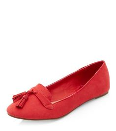 Teens Red Tassel Front Slipper Shoes