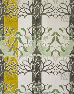 Birds and Mistletoe wallpaper, by C.F.A. Voysey. England, early 20th century