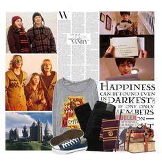 """Harry Potter ϟ"" by mafalda98 ❤ liked on Polyvore featuring moda, Luna, Nobody Denim, Elope, Converse, harrypotter e magic"