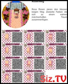 Rosenweg bei Hanne - New Ideas Animal Crossing Memes, Animal Crossing Qr Codes Clothes, Acnl Paths, Motifs Animal, Path Design, Rosa Rose, New Leaf, Projects To Try, Coding