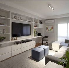 Living Room Tv Wall Built Ins Cabinets 62 Ideas For 2019 Small Apartment Decorating, Living Room Tv Wall, Living Room Tv, Small Apartments, Home Office Design, Living Room Designs, Tv Room Design, Home Decor, Inexpensive Apartment Decorating