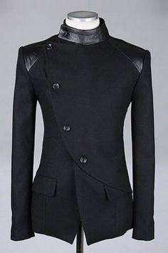 Richard look 2 shoulder detail Men Fashion British Style Long Sleeve Slant Buttons Design Black Polyamide Coat M/L/XL Mens Fashion Suits, Mens Suits, Mode Man, Sherwani, Mode Outfits, Casual Outfits, Mode Style, British Style, Punk Outfits