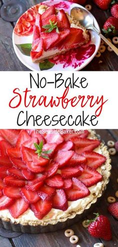 No-Bake Strawberry Cheesecake ... with a crust made of Honey Nut Cheerios! |  Pretty ingenious (not to mention SO easy and delicious too)! | #Cheerios #strawberries #cheesecake #dessertrecipes #easyrecipe | See this and other fabulous recipes at TheSeasideBaker.com Honey Nut Cheerios, Baked Strawberries, Strawberry Cheesecake, Dessert Recipes, Desserts, Favorite Holiday, Easy Meals, Sweets, Baking