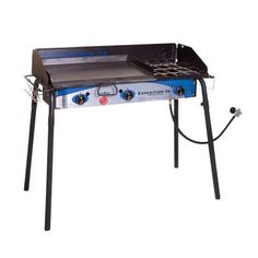Camp Chef's Expedition stove comes with a three-sided windscreen, paper towel holder, tool hook, and a pre-seasoned griddle that's ready for cooking right out of the box. This is the 3 burner camp stove you need to upgrade your outdoor kitchen.