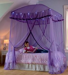 Our Sparkling Lights Lighted Canopy Bower is an enchanting place for kids to dream or play and is also an easy and inexpensive way to create a canopy bed! & Luxury Princess Bed Netting Canopy Mosquito Net Twin Queen King 10 ...