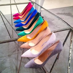 """""""A rainbow of @manoloblahnikhq. Which pair is your shade of perfect? #insidebny #perfectpairs"""""""
