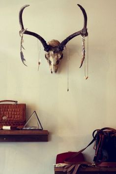 Clean, Modern Vintage Home Decor Inspiration | Minimal Rustic Design | Mounted Antlers | Taxidermy | Wood Shelves | Bright, White and Simple | #fabdecor