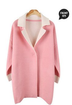 Envy Look - Contrast-Trim Knit Coat #contrasttrimcoat #knitcoat #coat
