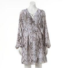 Women's Jennifer Lopez Faux-Wrap Dress, Size: Medium, Grey