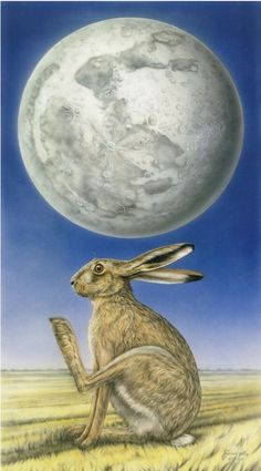 The Leveret: The Hare on the Moon. do you see the rabbit in the moon? Wicca, Hare Illustration, Year Of The Rabbit, Pagan Art, March Hare, Rabbit Art, Moon Magic, Bunny Art, Moon Art