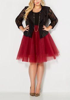 Plus Burgundy Tulle Ballerina Skirt   rue21