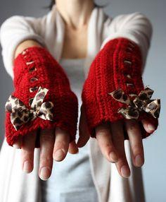 Crochet fingerless gloves Red animal print bow by VitalTemptation , Etsy, via Flickr