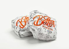 Telling a story through fast food packaging: the rise of the gourmet burger joint - Idealog Burger Branding, Burger Packaging, Food Branding, Restaurant Branding, Brand Packaging, Branding Design, Design Packaging, Restaurant Design, Fastfood Packaging