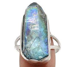 Aqua Aura Quartz 925 Sterling Silver Ring Jewelry s.10.5 SR198118
