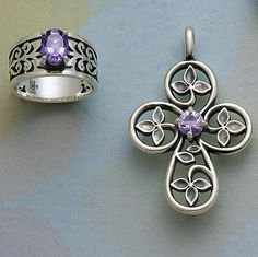 """Adoree Ring with Amethyst & """"I am the Vine"""" Cross with Lavender Amethyst from James Avery Jewelry 