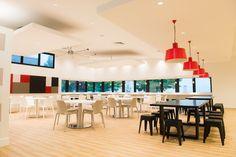 simple, bold colour scheme in the Nestle cafeteria
