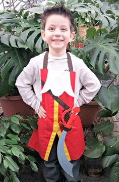 CAPTAIN HOOK Disney Junior Jr. inspired Child Costume Apron. Fits Boys and Girls sizes 2-8 Dress up Pirate Birthday Party Play Photo Prop