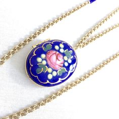 Accessocraft NYC Vintage Locket Pendant Necklace Hand Painted Multi-Strand #Accessocraft #Locket