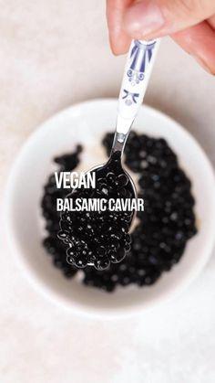 Delicious Vegan Recipes, Yummy Food, Healthy Recipes, Balsamic Pearls, Vegan Condensed Milk, Lemon Shots, Caviar Recipes, Oyster Recipes, Ovo Vegetarian