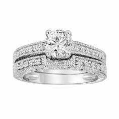 Diamond Engagement Ring And Wedding Band Sets 14K White Gold 1.05 Carat Vintage Antique Style Engraved handmade