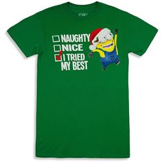 AmazonSmile: Despicable Me Minion Naughty Or Nice List T-Shirt:... ($11) ❤ liked on Polyvore featuring tops, t-shirts, green tee, green top and green t shirt