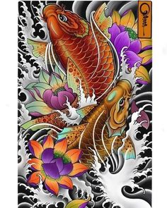Pez Koi Tattoo, Koi Tattoo Sleeve, Koi Dragon Tattoo, Carp Tattoo, Japanese Sleeve Tattoos, Tattoo Ink, Japanese Koi Fish Tattoo, Koi Fish Drawing, Japanese Tattoo Designs