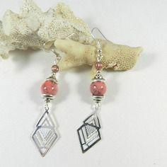 Boucles d'oreilles argent rose saumon - boucles d'oreilles argent géométrique - création de bijoux par breloques de sophie