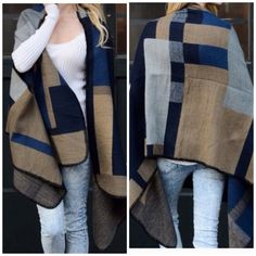 1 Hour Sale ‼️ Beautiful color block  Poncho Nwot color block poncho beautiful style for layering nwot . 100% acrylic will fit all sizes one size fits all . Only the blue color combo is available for sale . Vivacouture Accessories Scarves & Wraps