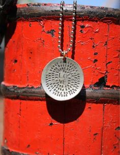 Love Necklace - Stamped Sterling Silver Charm