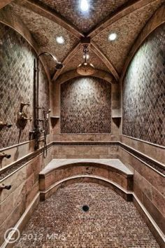 If we could dream about what our dream shower would look like complete with a cathedral ceiling. Dream Shower, Walk In Shower, Huge Shower, Dream Bathrooms, Beautiful Bathrooms, Luxury Bathrooms, Custom Bathrooms, Rich Home, Luxury Shower