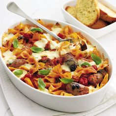 This easy Italian sausage and roast vegetable pasta bake recipe makes a substantial mid-week family dinner.