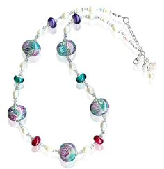 Handmade Summer Floral Bouquet Lampwork Glass Necklace – SWCreations