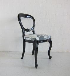 Dutch Plain Cab leg Dining Chair Painted Black & Upholstered / Dutch Connection