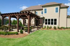 Backyard wood pergola