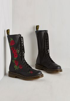 Rose Through the Ranks Boot by Dr. Martens - Black, Red, Solid, Floral, Embroidery, Statement, Best, Lace Up, Calf, Low, Leather