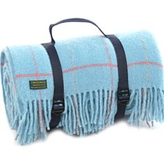 Tweedmill Polo Pure New Wool Picnic Rug with Fringe Webb Straps Overcheck Sky Blue Navy Backing Tweedmill Picnic Rugs Tweedmill Textiles of Wales -