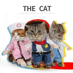 Funny Pet Cat Dog Cowboy / Doctor / Nurse Standing Costume Cosplay Clothes For Small Medium Dogs Puppy Party Jacket Coat Pet Costumes For Dogs, Pet Halloween Costumes, Cat Costumes, Cat Lover Gifts, Cat Gifts, Cat Lovers, Funny Cats And Dogs, Funny Animals, Nurse Cat