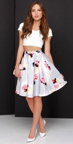 @roressclothes closet ideas #women fashion outfit #clothing style apparel white crop top, floral midi skirt